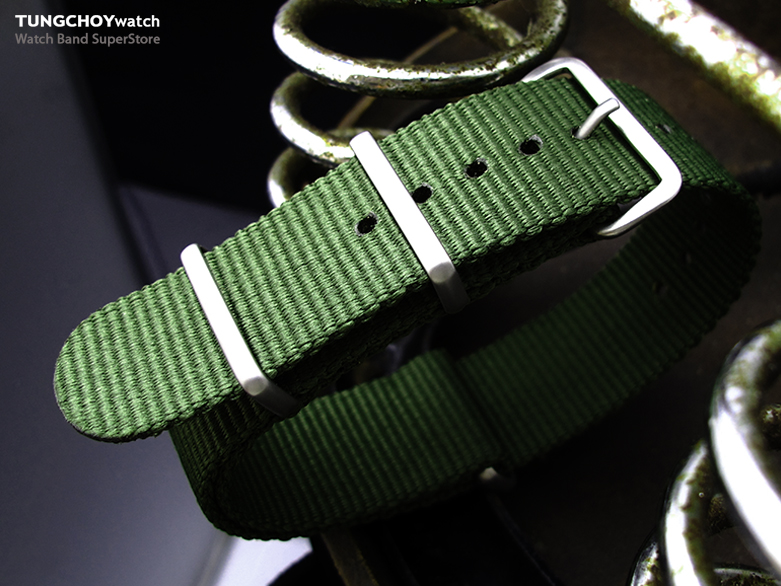 MiLTAT 21mm G10 NATO Military Watch Strap Ballistic Nylon Armband, Brushed - Forest Green