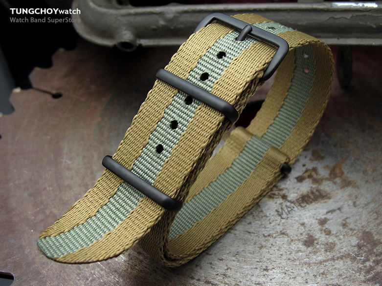 MiLTAT 20mm G10 Military NATO Watch Strap, Sandwich Nylon Armband, PVD Black - Military Green