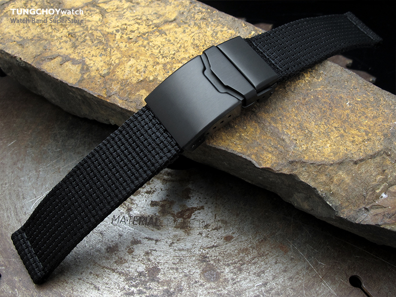 22mm MiLTAT 3D Nylon Black Watch Strap, PVD Black Chamfer Clasp with Button