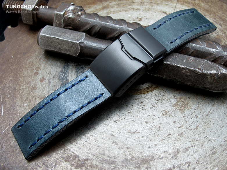 22mm MiLTAT Pull Up Aniline Blue Italian Leather Watch Strap, Blue Wax Hand Stitch, Brushed Button Chamfer Clasp