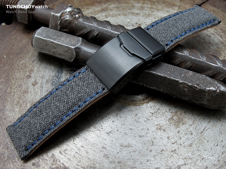 22mm MiLTAT Black Washed Canvas Watch Band with Blue Wax Stitching, Brushed Button Chamfer Clasp