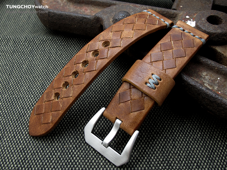 MiLTAT Zizz Collection 22mm Braided Calf Leather Watch Strap, Tawny Brown, Grey Stitches
