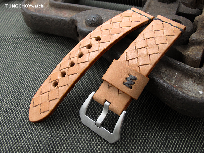 MiLTAT Zizz Collection 22mm Braided Calf Leather Watch Strap, LV Beige, Dark Grey Stitches