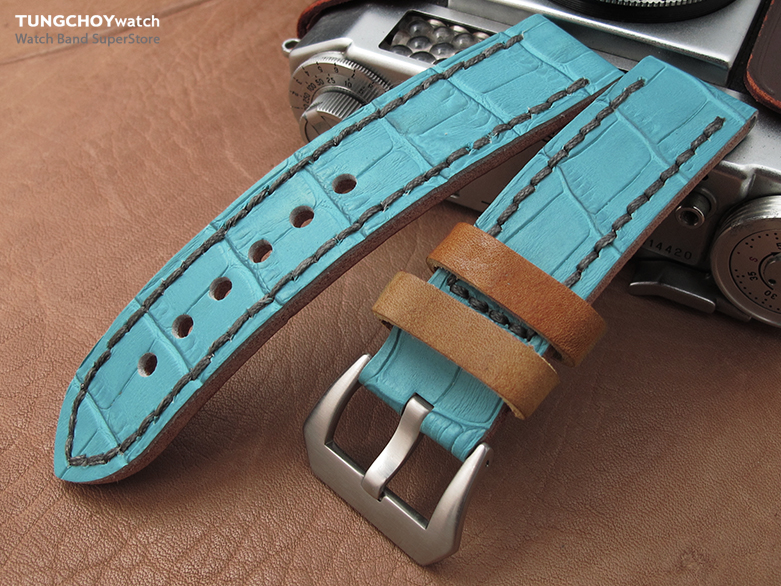 22mm MiLTAT Antipode Watch Strap Matte Sky Blue CrocoCalf in Grey Hand Stitches