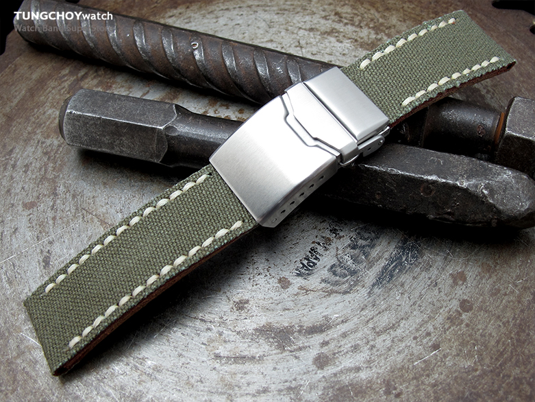 22mm MiLTAT Miltary Green Canvas Watch Strap Brushed Button Chamfer Clasp, Beige Wax Hand Stitches