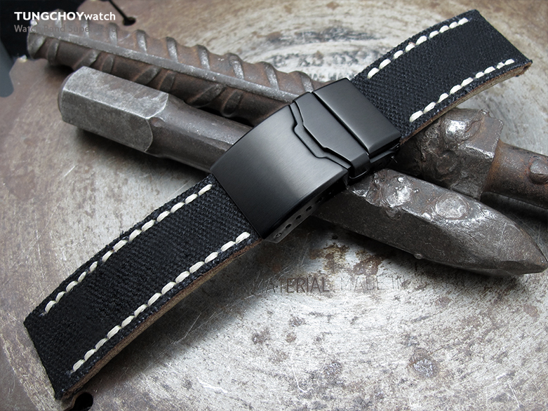 22mm MiLTAT Black Canvas Watch Strap Brushed Button Chamfer Clasp, PVD Black, Beige Wax Hand Stitches