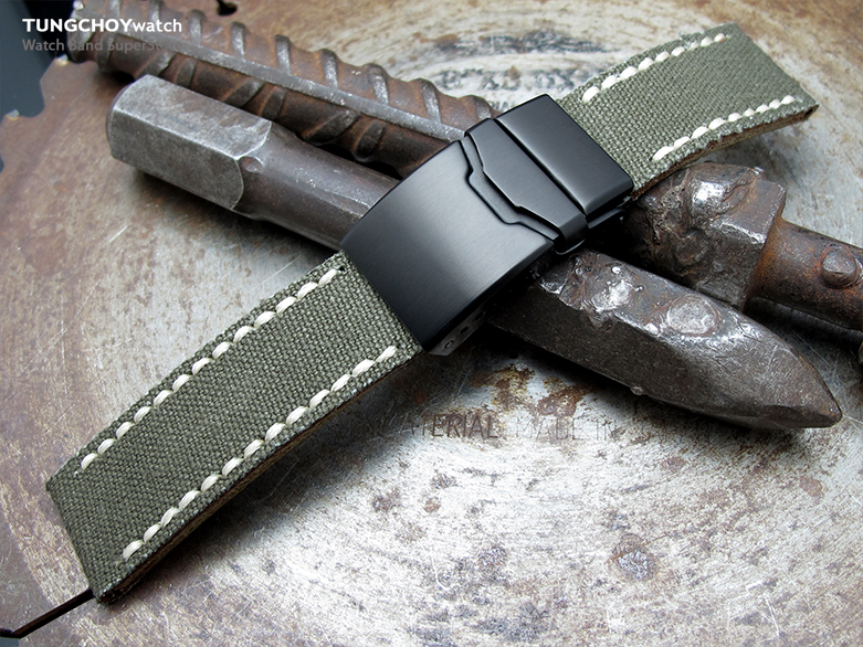 22mm MiLTAT Miltary Green Canvas Watch Strap Brushed Button Chamfer Clasp, PVD Black, Beige Wax Hand Stitches