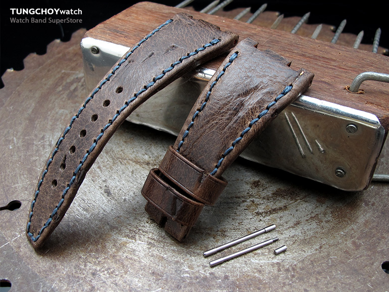 Scratch Brown Pattern Leather of Art Watch Strap, Dark Navy Wax thread , custom made for Audemars Piguet Royal Oak Offshore
