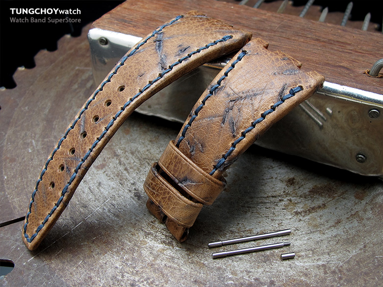 Heavy Scratch Brown Leather of Art Watch Strap, Dark Navy Wax thread, custom made for Audemars Piguet Royal Oak Offshore