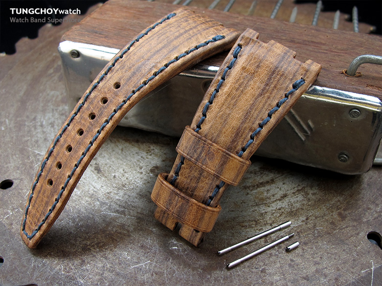 Brown Oak Wood Leather of Art Watch Strap, Wax thread Dark Navy Stitching, custom made for Audemars Piguet Royal Oak Offshore