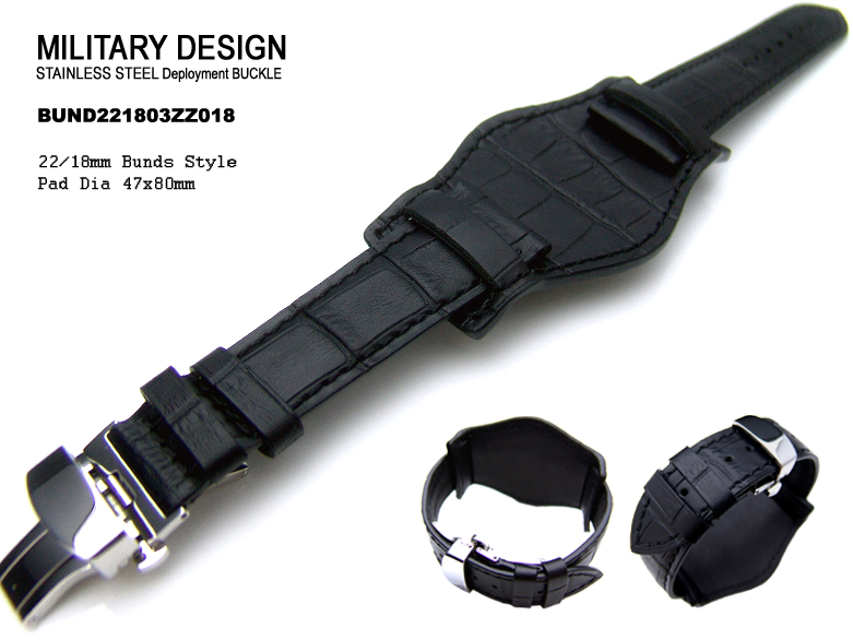 (BUND221803ZZ018)22mm Bunds Style Military BLACK CrocoCalf Watch Strap - Deloyant