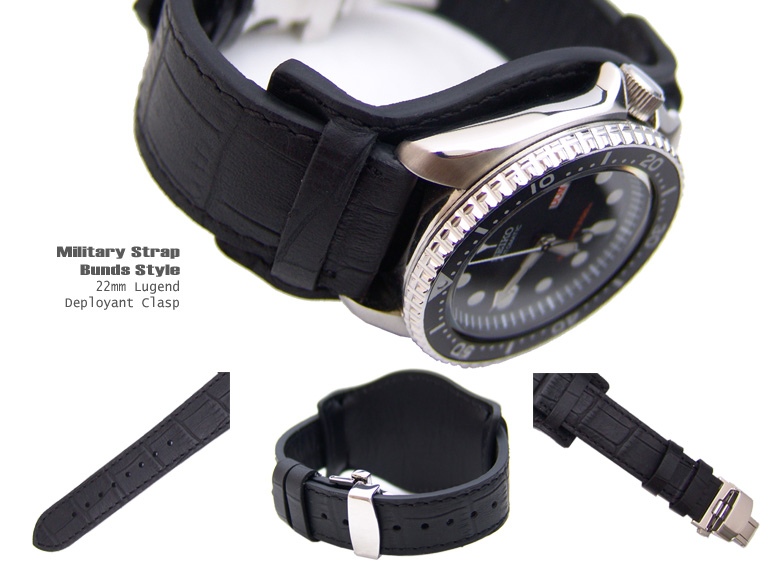 (BUND2220018RF)22mm Bunds Style Military BLACK CrocoCalf Watch Strap - Deloyant