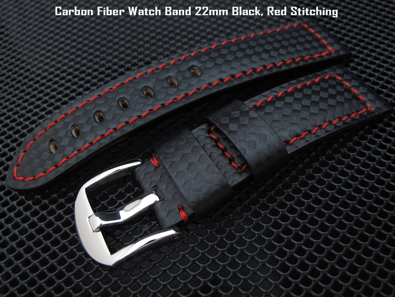 55df902fbe3 CF222000RE018)Carbon Fiber Watch Band 22mm Black