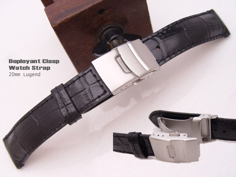 (CG2018013RJ-B)20mm Deployant Clasp Watch Strap*Croco Calf*Semi-Shiny Black