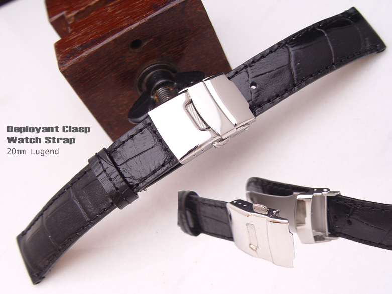 (CG2018013RJ-P)20mm Deployant Clasp Watch Strap*Croco Calf*Semi-Shiny Black