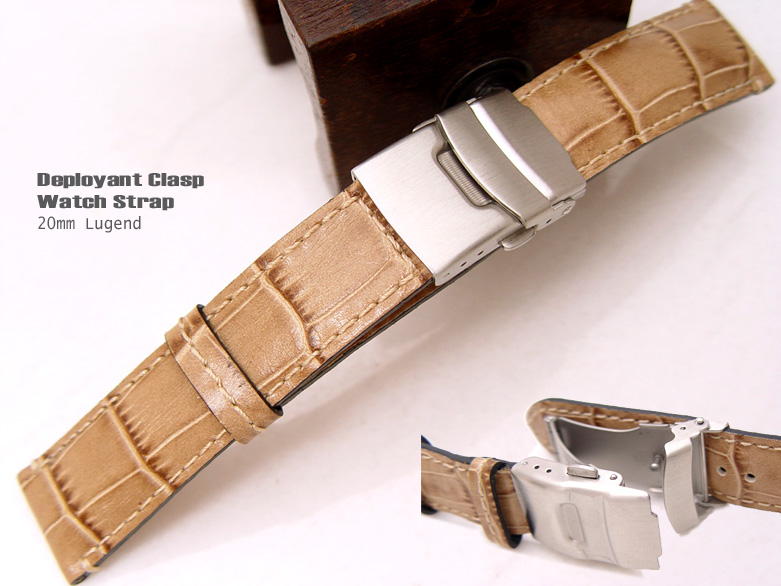 (CG2018026RJ-B)20mm Deployant Clasp Watch Strap*Croco Calf*Mat Dark Beige