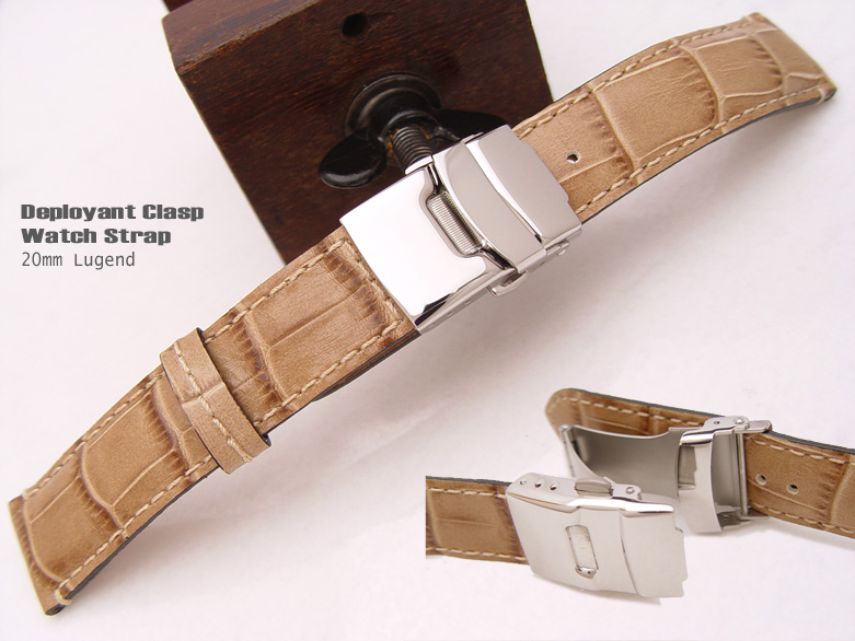 (CG2018026RJ-P)TAIKONAUT 20mm Deployant Clasp Watch Strap*Croco Calf*Mat