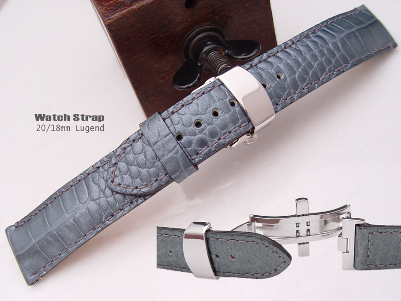 (CGD2018030RJ) Pearly Croco Grain* 20/18mm Deployant Clasp Watch Strap
