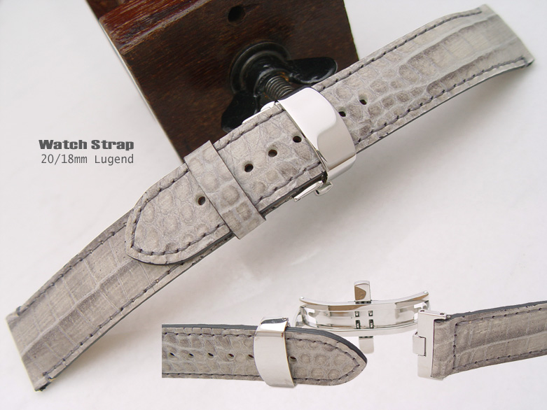 (CGD2018031RJ) Stone Grey Croco Grain* 20/18mm Deployant Clasp Watch Strap