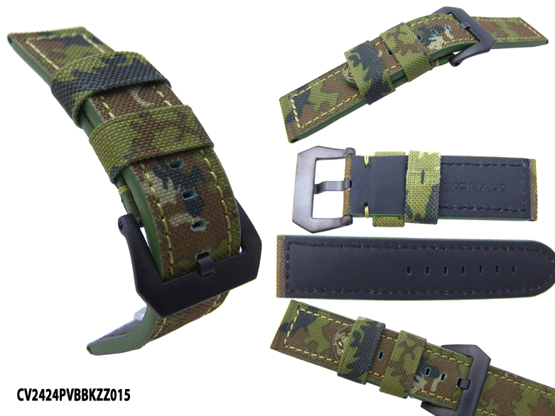 (CV2424PVBBKZZ015) Canvas 24mm Military Erdl Green Camouflage with Screw-in PVD Black Buckle