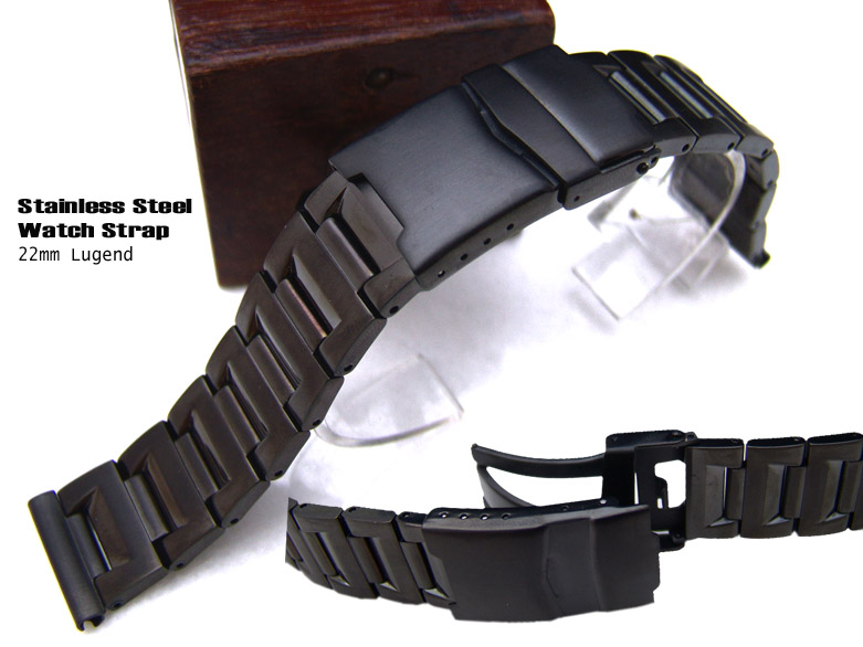 (NB-SS22-226DS)22mm BLACK Plating PVD Solid Steel Watch bracelet Band
