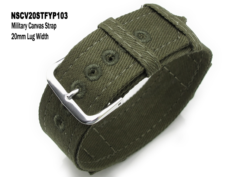 8452e651b63 20mm Olive Military Canvas Watch Band One piece design