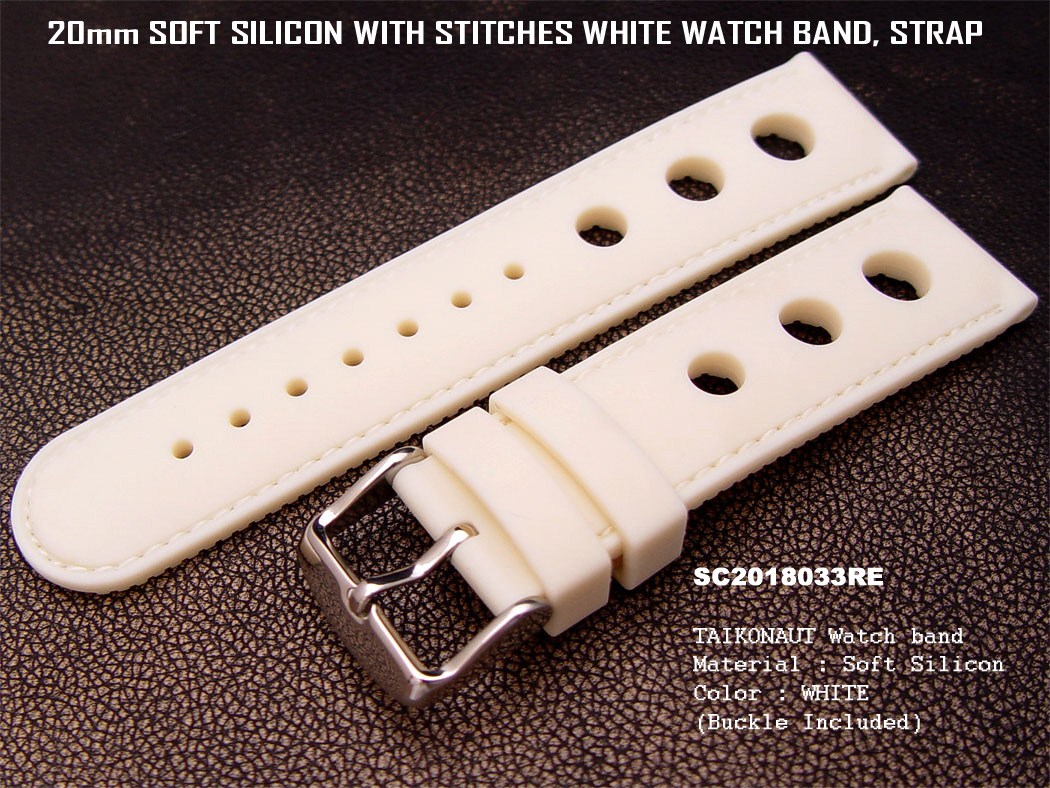 20mm White Soft Silicone Diver Watch Band Hole Punch Watch Band Red Stitches