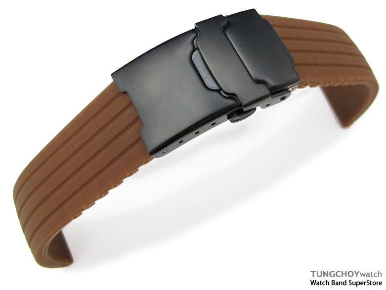 20mm 4 Groove Line Choco Silicon Watch Strap on PVD Black Diver Clasp, B
