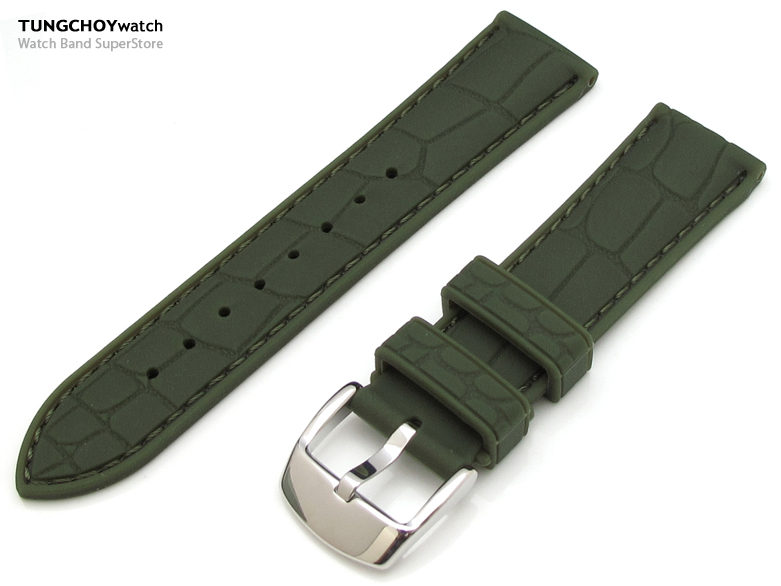 20mm Croco Grain Military Green Silicone Soft Watch Strap on 316L SS Polished Buckle