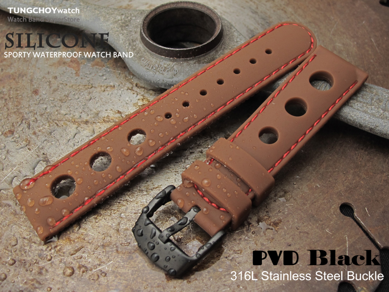Silicon Choco 3 Punch Holes with Red Stitches 20mm Watch Strap, PVD Black Buckle