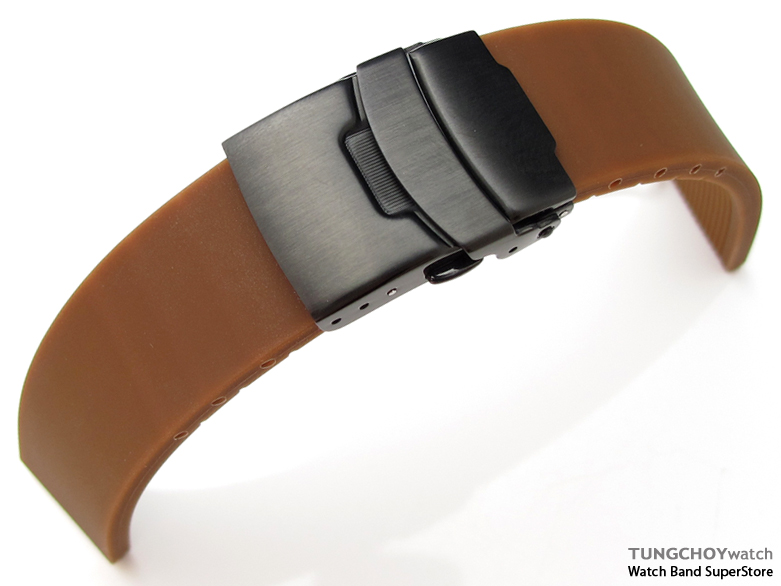 20mm Plain Choco Silicon Strap on PVD Black Diver Clasp for Sport Watch, B