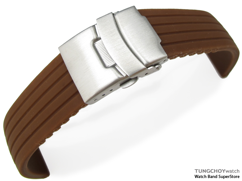 24mm 4 Groove Line Choco Silicon Watch Strap on Diver Clasp, B