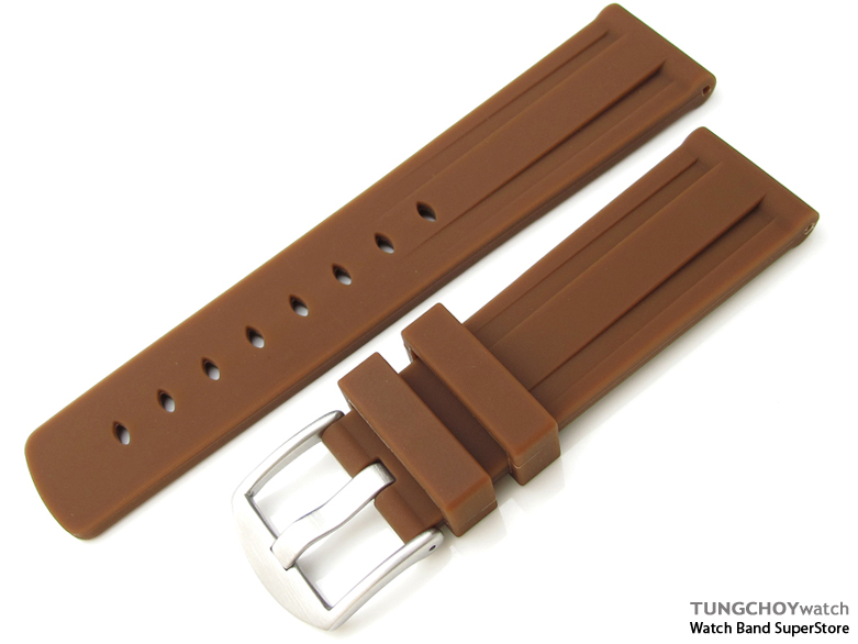 Toughness Silicon Choco Color Double Groove 22mm Watch Strap, 316L Brushed spring bar type Buckle