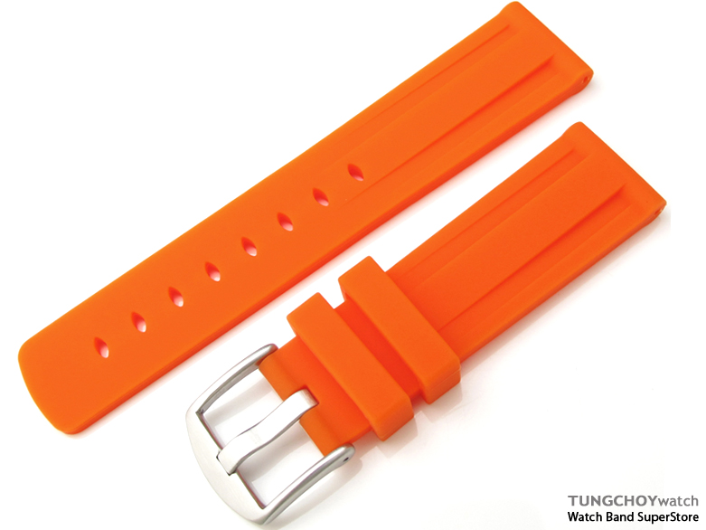Toughness Silicon Orange Color Double Groove 22mm Watch Strap, 316L Brushed spring bar type Buckle