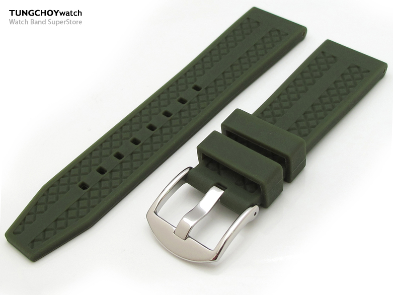 22mm Grid Pattern Military Green Silicone Soft Watch Strap on 316L SS Polished Buckle
