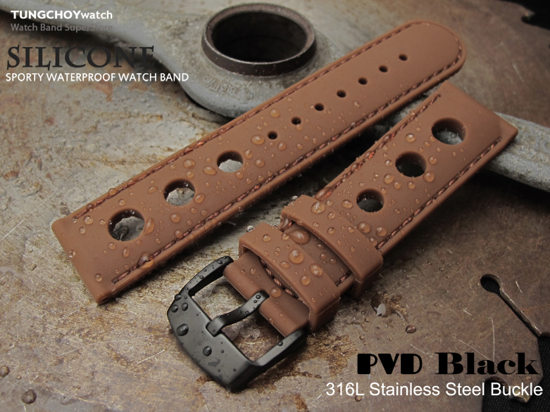 Silicon Choco 3 Punch Holes with Choco Stitches 20mm Watch Strap, PVD Black Buckle