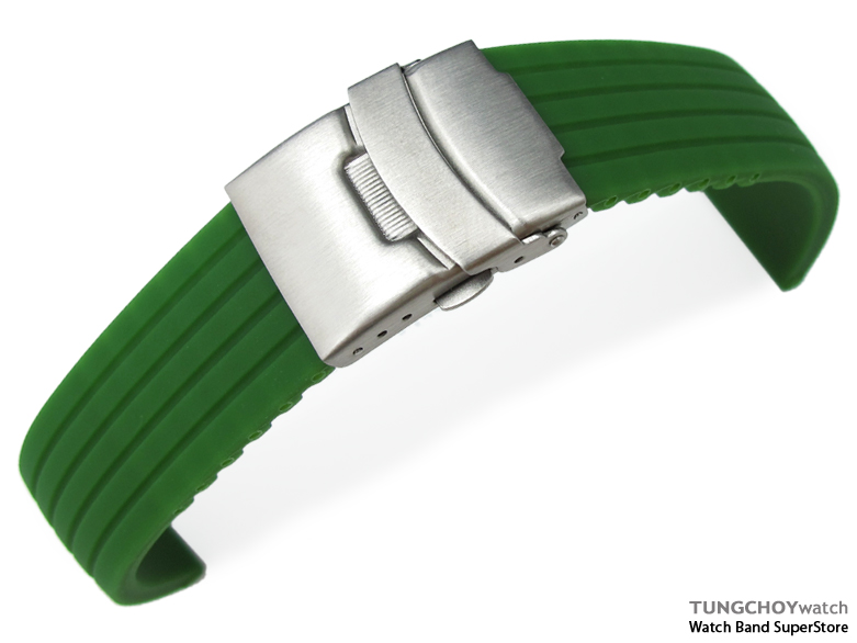22mm 4 Groove Line Military Green Silicon Watch Strap on Diver Clasp, B