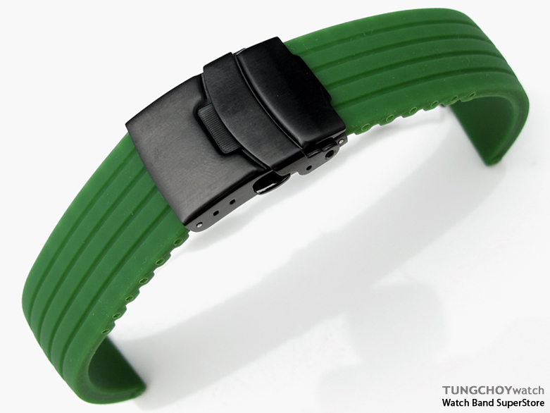 22mm 4 Groove Line Military Green Silicon Watch Strap on PVD Black Diver Clasp, B