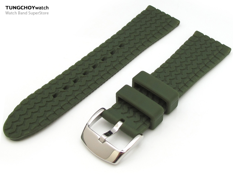 23mm Tire Tread Pattern Military Green Silicone Soft Watch Strap on 316L SS Polished Buckle