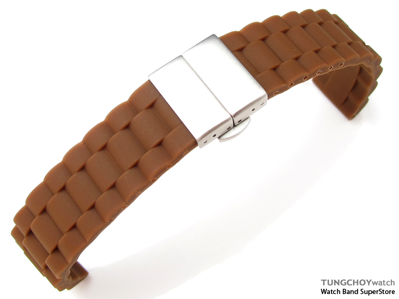 20mm Choco Oyster Style Silicon Strap on Deployant Clasp for Sport Watch, B