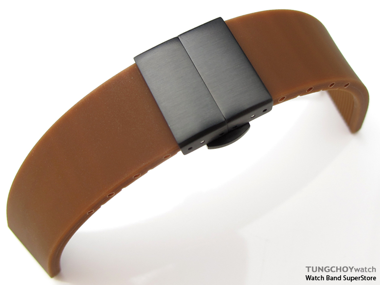 20mm Plain Choco Silicon Strap on PVD Black Deployant Clasp for Sport Watch, B