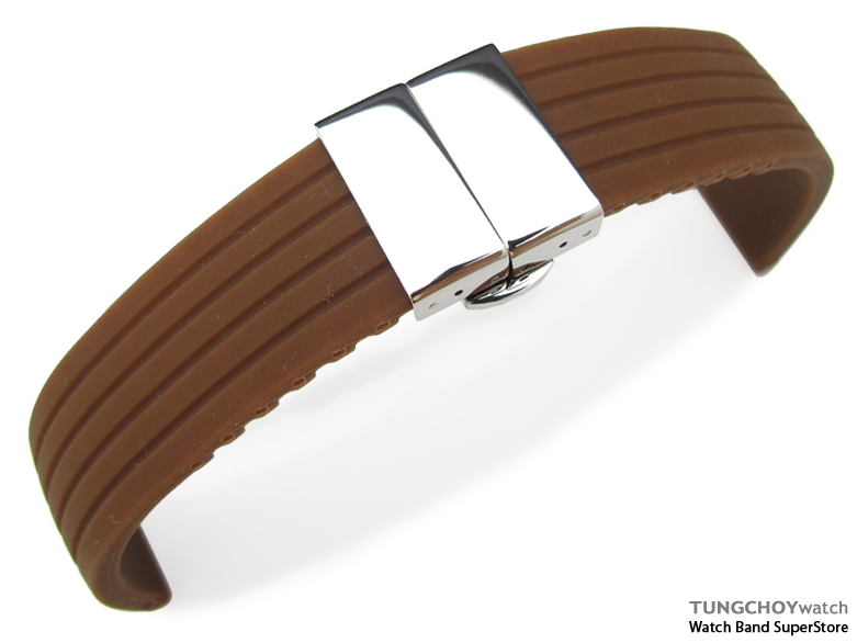 24mm 4 Groove Line Choco Silicon Watch Strap on Deployment Clasp, P
