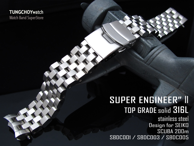 20mm Super Engineer II watch band for SEIKO Sumo SBDC001, SBDC003 & SBDC005, Brushed