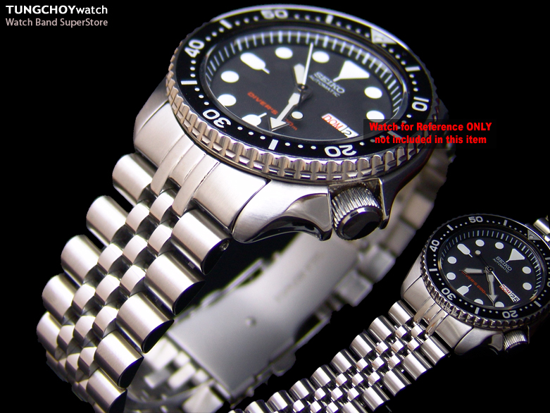 22mm Super Jubilee Stainless Steel Watch Band Bracelet Design for Seiko SKX007 Curved Lug