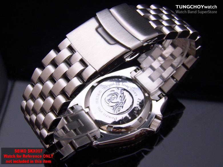 22mm Super Engineer Stainless Steel Watch Band Bracelet Design for Seiko SKX007 Curved Lug