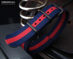 MiLTAT 18mm G10 military watch strap ballistic nylon armband, PVD - Dark Blue & Red Stripes