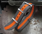 MiLTAT 20mm G10 Military NATO Watch Strap, Sandwich Nylon Armband, Polished - Grey & Orange Stripes