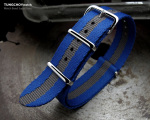 MiLTAT 20mm G10 Military NATO Watch Strap, Sandwich Nylon Armband, Polished - Navy & Grey Stripes