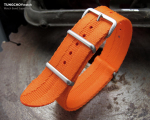 MiLTAT 22mm G10 Military NATO Watch Strap, Sandwich Nylon Armband, Brushed - Orange