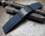 22mm MiLTAT Navy Blue Washed Canvas Watch Band with Dark Grey Wax Stitching, Brushed Button Chamfer Clasp